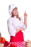 Attractive cook woman a over white background Royalty Free Stock Photo
