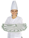 Attractive cook woman saving money in its purchases and meals Stock Photo