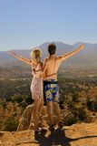 An attractive couple. Relaxing in high mountains Stock Images