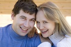 Attractive couple. Young happy smiling attractive couple together outdoors Stock Images