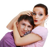 Attractive couple being playful Royalty Free Stock Photos
