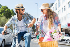 Attractive couple on a bike ride Stock Photo