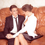 Attractive Couple in Black and White Talking Royalty Free Stock Image