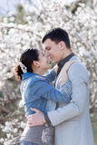 Attractive couple in blossoming park Royalty Free Stock Image