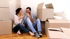 Attractive couple celebrating their move stock video