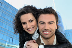 Attractive couple in the city Royalty Free Stock Photo