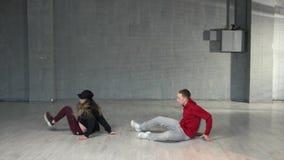 Attractive couple dancing hip-hop. stock footage