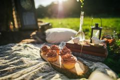 Attractive Couple Enjoying Romantic Sunset Picnic in the Country. Tasty creamy cupcakes on wooden board at picnic in park Stock Images