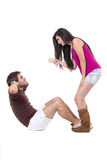 Attractive couple excercising Stock Photos