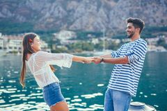 Attractive couple exploring on their summer vacation Stock Images