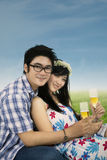 Attractive couple with glasses of champagne Stock Photo
