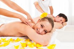 Attractive couple having a massage Stock Image