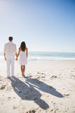 Attractive couple holding hands and watching the sea Royalty Free Stock Photography