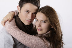 Attractive couple hugging royalty free stock photo