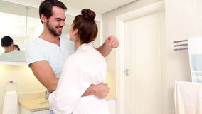 Attractive couple hugging in the morning stock video