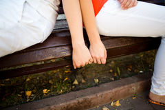 Attractive couple hugging in the park Royalty Free Stock Photo