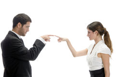 Attractive couple joining fingers Royalty Free Stock Photos