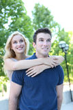 Attractive Couple in Love (Focus on Man) Royalty Free Stock Images