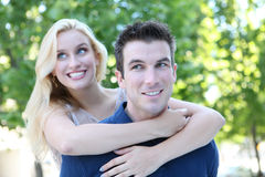 Attractive Couple in Love (Focus on Man) Royalty Free Stock Photography