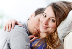 Attractive couple of lovers lengthened the one on the other one Stock Photos