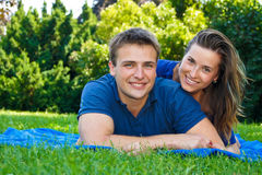 Attractive couple in nature Stock Image
