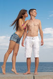 Attractive couple outdoors Royalty Free Stock Image