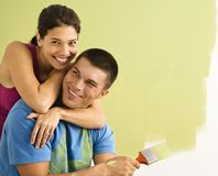 Attractive couple painting. Stock Photography