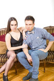 Attractive couple, pair of lovers at ancient living room sitting Stock Photo
