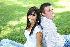 Attractive Couple in Park Royalty Free Stock Photo