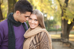 Attractive couple in park royalty free stock photos