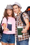 Attractive couple with passports Royalty Free Stock Photo