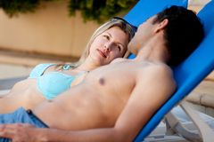 Attractive Couple by Pool Stock Photos
