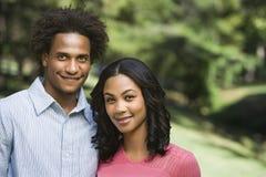 Attractive couple portrait. Attractive couple portrait in park Royalty Free Stock Image