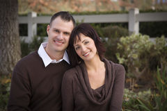 Attractive Couple Portrait in Park Stock Photography