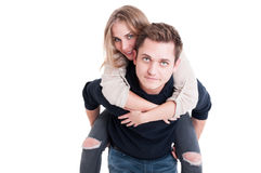 Attractive couple posing as being happy and joyful Royalty Free Stock Photography