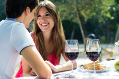 Attractive couple on romantic picnic in countryside. Stock Photo