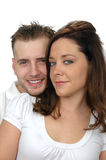 Attractive couple's portrait. Isolated on a white background Royalty Free Stock Images