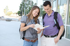 Attractive Couple at School Library Stock Photos