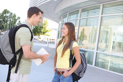 Attractive Couple at School Library Royalty Free Stock Photos