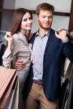 Attractive couple is in the shop Royalty Free Stock Photography