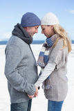 Attractive couple standing on the beach in warm clothing Stock Photos
