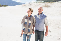 Attractive couple standing holding hands on the beach Royalty Free Stock Photography