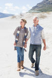Attractive couple standing holding hands on the beach Royalty Free Stock Photo