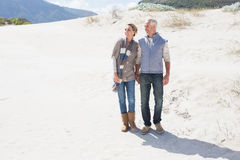 Attractive couple standing holding hands on the beach Stock Photography
