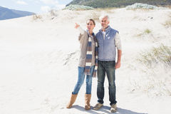 Attractive couple standing holding hands on the beach Royalty Free Stock Photos