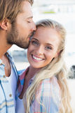 Attractive couple standing and hugging Royalty Free Stock Photography