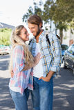 Attractive couple standing and hugging Royalty Free Stock Image