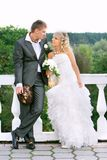 Attractive couple on their wedding day Stock Photo