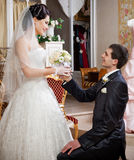 Attractive couple on their wedding day Stock Images