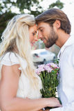 Attractive couple about to kiss each other Stock Images